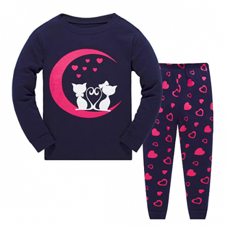 Garsumiss Girls Pyjamas Set Cute Kids Long Sleeve Cotton Pjs Pajama Sleepwear Tops Shirts & Pants 2 Cat (7 years)