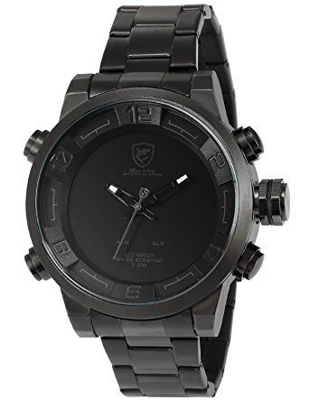Shark Mens Analog LED Display Alarm Date Day Display Stainless Steel Quartz Watch (DS025S)