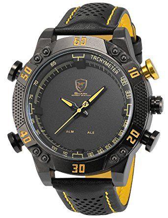 Shark Men's Digital Analog Quartz Sport Black Leather Band Wrist Watch Yellow (DS019L)