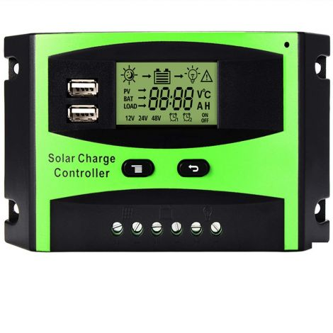 Solar Charge Controller 30A 12V-24V Solar Panel Regulator Charge Controller LCD Display Solar Controller With USB