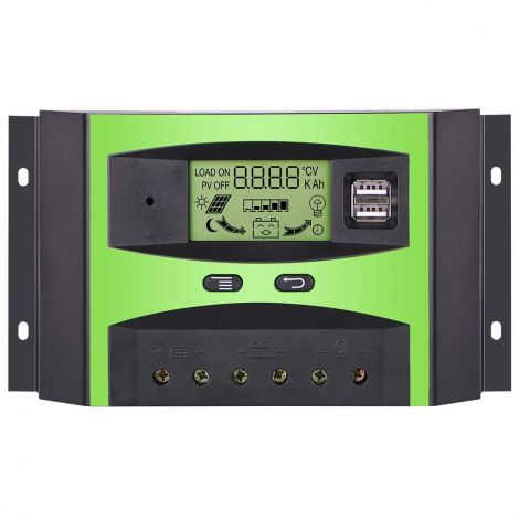 Solar Charge Controller 24V 12V PWM Solar Panel Battery Intelligent Regulator Controller 30A with USB Port and LCD Dsplay