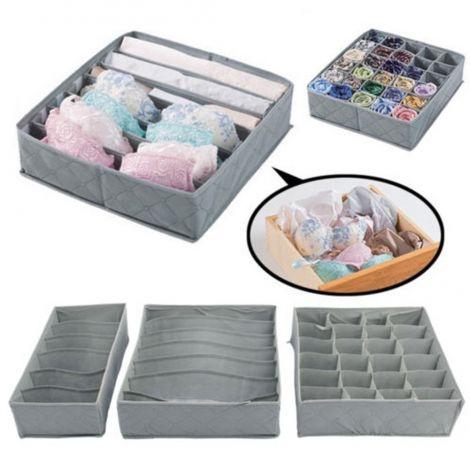 3PCS Storage Box Set, Underwear Sock Drawer Closet Organizer, Non-woven Fabric Foldable Storage Boxes