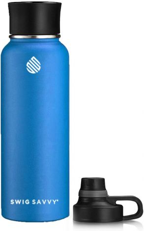 SWIG SAVVY Water Bottle 40oz with Replaceable Fastener BPA-Free Stainless Steel 900ml (Blue)