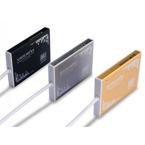 SIYOTEAM  USB 2.0 Συσκευή Ανάγνωσης Καρτών με 5 Υποδοχές SY-368 Μαύρο (11018)