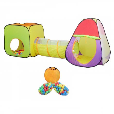 MC Star Pop up Kids Play Tent 3 in 1 Games tent and Tunnel set + 200 Ball Pool Children House Portable (Balls Included)