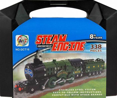A To Z Steam Engine Train Model Metal Construction Set Kit Toy DIY (338 Pcs)