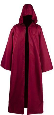 Adult Halloween Costume Tunic Hoodie Robe Cosplay Cape, Burgundy, XL