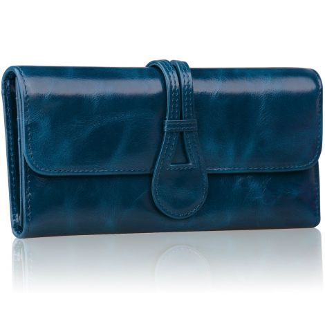 Jack&Chris Women's Genuine Leather Organizer Wallet Card Case Purse WBXH053 (Blue)