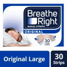 Breathe Right Snoring Congestion Relief Nasal Strips Original, 30 Strips (Large)
