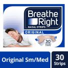 Breathe Right Snoring Congestion Relief Nasal Strips Original, 30 Strips (Small/Medium)