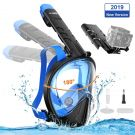 WOTEK diving full face snorkel mask with 180° field of view and camera holder (S-M)