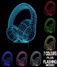 Optical Illusion 3D Lamp 7 Colour Changing Headphones