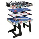 HLC 4 in 1 Multi Sports Game Table Combo Table- Pool Table/ Push  Hockey /Mini Table Tennis Table/ Football Table With folding Legs, 4 Ft