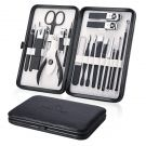 Manicure Set 18pcs Professional Nail Clippers Kit Pedicure Care Tools-Stainless Steel (black)
