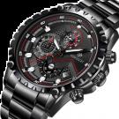WISHDOIT Men's Sport Waterproof Chronograph Silver Stainless Steel Watch (Black)