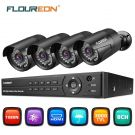 FLOUREON CCTV Security System 8CH ONVIF AHD DVR 4PCS Outdoor 1080P 3000TVL 2.0MP Cameras Kit Home/Office Support TVI/CVI/AHD/Analog IP Camera P2P Mobile Viewing/Motion Detection/Night Vision