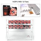 Aluminum 14 GPU Mining Rig Stackable Open Air Frame Case With 12 pcs 120mm Case Fan For ETH/ETC/ZCash/Cryptocurrency (Red Fans - Silver)