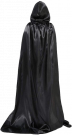 Satin Cloak with Hood Costume Crushed Velvet Hooded Cape Cosplay (L-150CM)