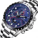 WISHDOIT Men's Sport Waterproof Chronograph Silver Stainless Steel Watch (Blue)
