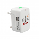 Universal travel adapter - charger 2xUSB, 1.0A EU/US/UK/AU to EU/US/UK/AU 220V - White (17708)