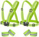 Reflective Vest High Visibility Adjustable with 4 Reflective Bracelets (Pack of 2)