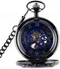 Retro Steampunk Mechanical Pocket Watch Hand Wind Engraved Metal, Blue/ Black