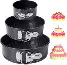 HomeMall Cake Tin Round Set Flat Base Leak-Proof Non-Stick Coating (3 Pcs)