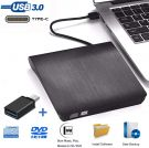 iAmotus External DVD CD Drive USB 3.0 Type-C Dual Port DVD Burner Portable Ultra Slim (Black)