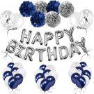 Birthday Balloon Decoration set (Blue/Silver)