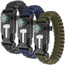 maxin Paracord Bracelet Outdoor Survival Kit (Set of 3)