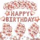 Birthday Decoration - 36 Rose Gold Balloons 15 Confetti Balloons 4 Heart Star Foil Balloon 10G Confetti  (Rose Gold)