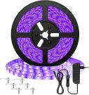 Onforu UV Black Light Adhesive 12V SMD LED Strip with Power Supply - 300 LEDs (5M)