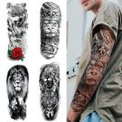 Full Arm Temporary Tattoos Extra Large 4 Sheets, size (48cm x 17cm)