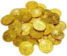 Gold coins play money for children toy party bags - 3.5cm (50pcs)