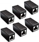 deleyCON CAT6 Ethernet adapter RJ45, pack of 6 (Black)