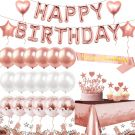 Birthday Decorations - 24 Balloons, Cake Topper, Glitter Tablecloth, 10 g Confetti (Rose Gold)