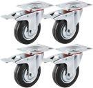 Forever Speed 4 x Heavy Duty 75mm Rubber Swivel Wheel Trolley Furniture Caster with Brake