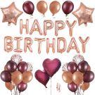 Birthday decoration happy birthday garland & Balloons (Rose-gold)
