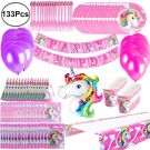 Party Supplies for Unicorn Birthday Decoration for 16 guests (133pcs)