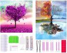 5D DIY Full Drill Diamond Painting Kit Two sizse love heart Tree (30 x 30 cm) - Four Seasons Tree (30 x 40 cm)