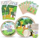 Safari Theme Party Tableware Set  Zoo Animals (16 Guests 66 Pieces)