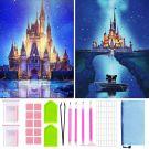 5D DIY Diamond Painting Kits Disney Castle with Painting Accessory Set 2 PCS (30x40cm)