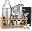Godmorn Cocktail Shaker Set Stainless Steel with Bamboo Stand 550 ml (15 pcs)