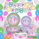 Pink Lama Theme Party Accessories Set (16 People 105 pieces)