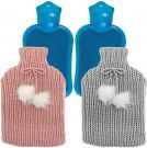 Hot water bottles with cover Pack of 2 pink and grey  (2 litres)
