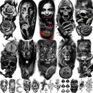 Large Realistic Unisex Fake Tattoos 3D Stickers (22 Sheets)