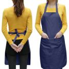 Chefs Plain Apron with Front Pocket - One size (Dark Blue)