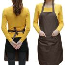 Chefs Plain Apron with Front Pocket - One size (Brown)