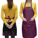 Chefs Plain Apron with Front Pocket - One size (Purple)