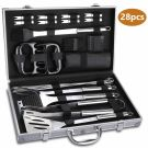 WisFox 28 PCS Stainless Steel Barbecue Grill Utensil Set in aluminum case